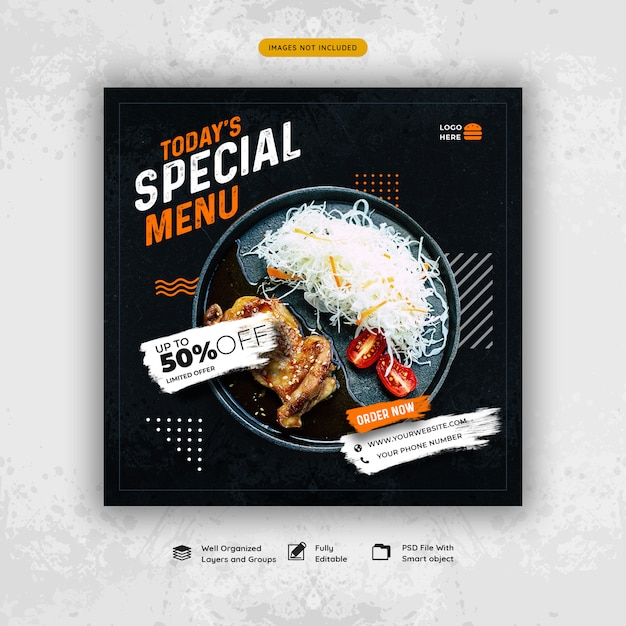 Restaurant food menu social media banner template Premium Psd