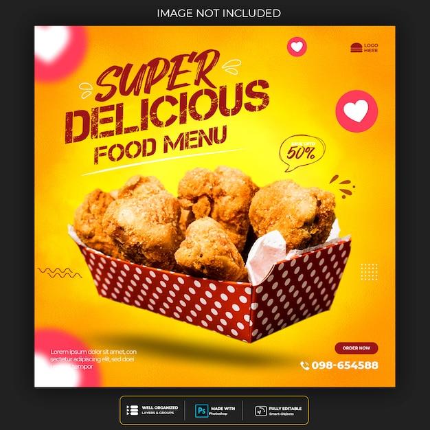 Restaurant or food menu social media post template Premium Psd