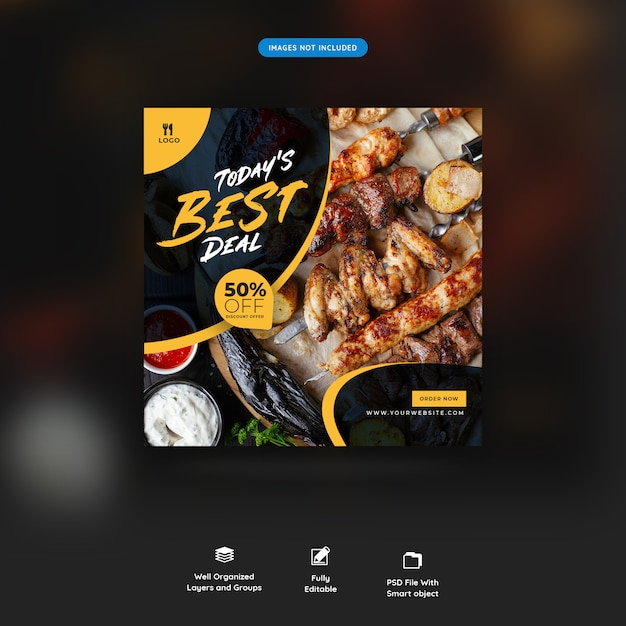 Restaurant food social media post Premium Psd