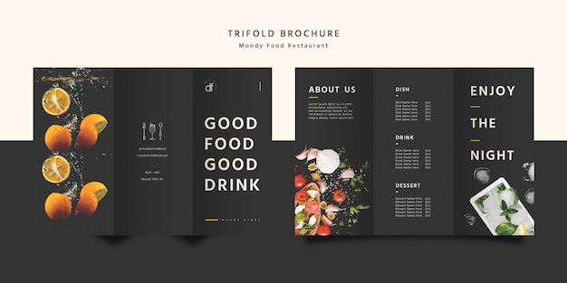 Restaurant food trifold brochure Free Psd