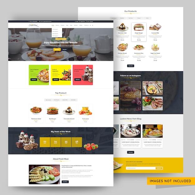Restaurant and food website premium psd template Premium Psd