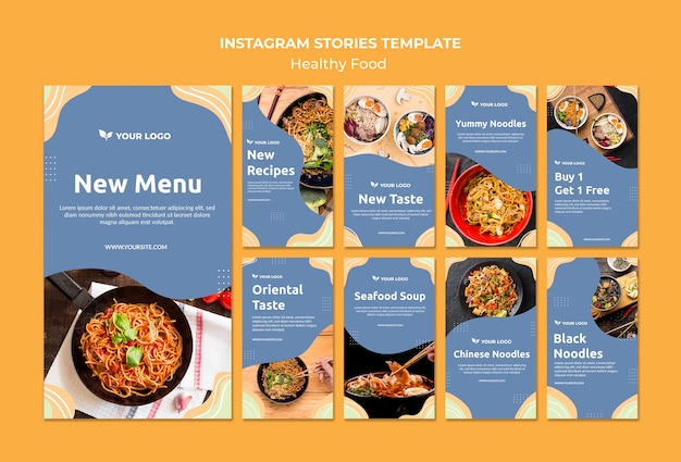 Restaurant instagram stories template design Free Psd