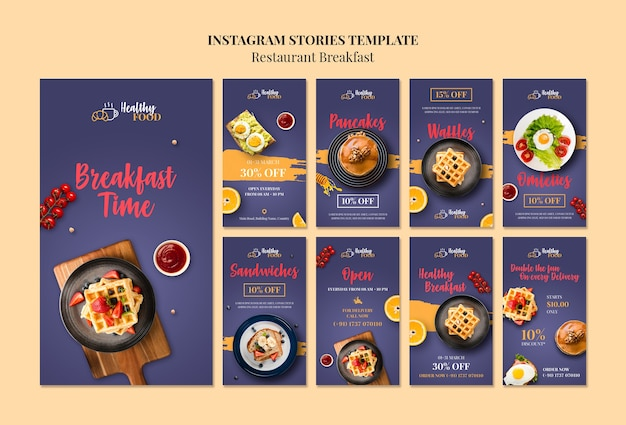 Restaurant instagram stories template Free Psd