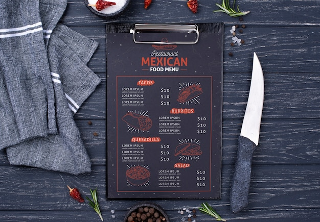Restaurant menu concept mock-up Premium Psd