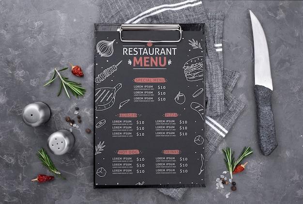 Restaurant menu concept mock-up Free Psd