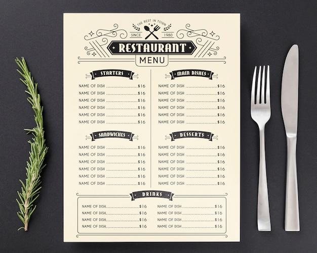 Концептуальный макет меню ресторана Premium Psd