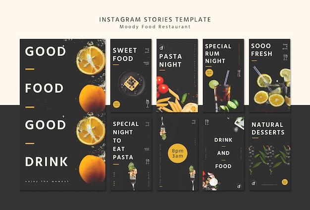 Restaurant menu instagram stories template Free Psd