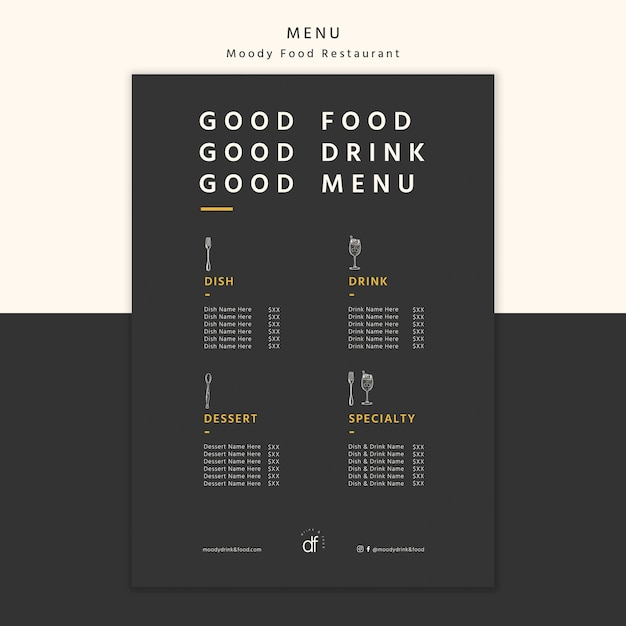 Restaurant menu selection and offers Free Psd