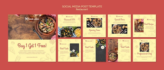 게시 템플릿-식당 메뉴 소셜 미디어 무료 PSD 파일