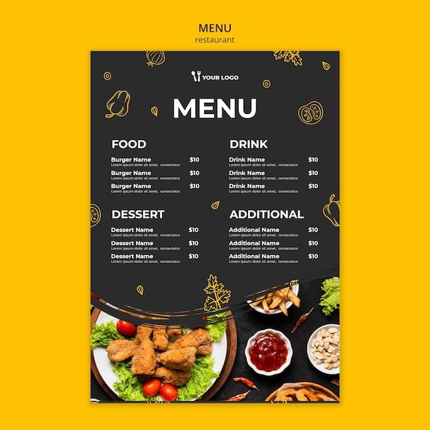 Restaurant menu template Free Psd