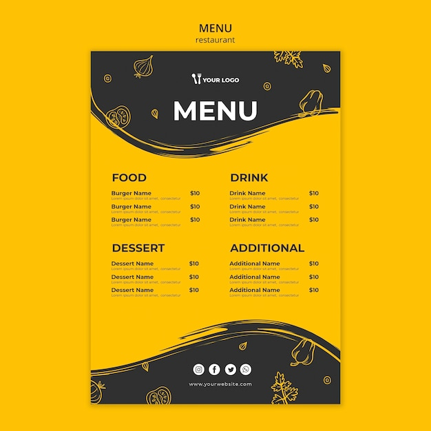 Restaurant menu template Free Psd