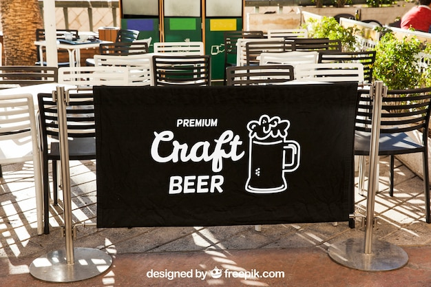 Restaurant sign mockup with terrace Free Psd