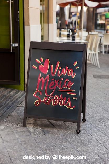 Restaurant sign mockup Free Psd