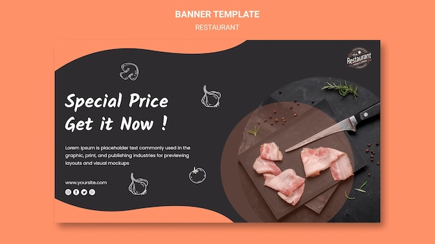 Restaurant special offer banner template Free Psd