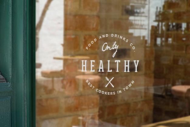 레스토랑 창 사인 로고 모형 프리미엄 PSD 파일
