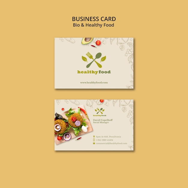 Restaurant with healthy food business card template Free Psd