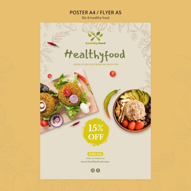 Restaurant with healthy food flyer template Free Psd