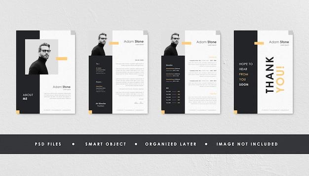 Минималистский черный желтый resume curriculum template bundle Premium Psd