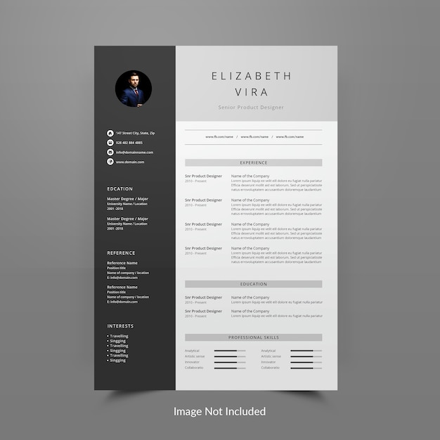 Resume or cv template editable Premium Psd