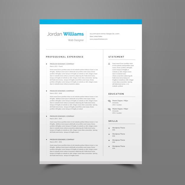 Resume or cv template editable Premium Psd