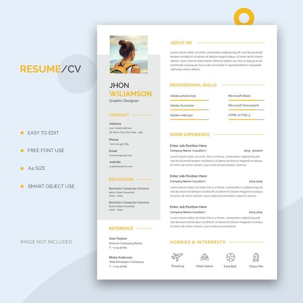 Resume or cv template Premium Psd