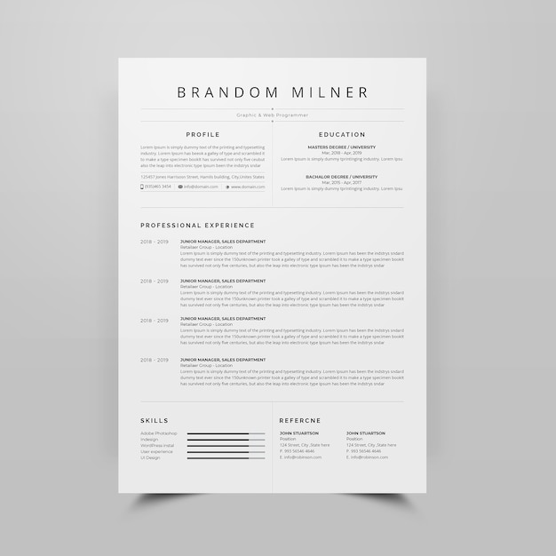Resume cv template Premium Psd