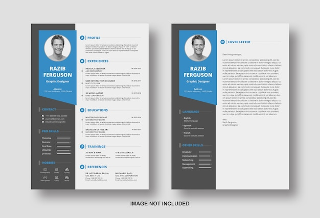 Resume cv with cover letter design template Premium Psd