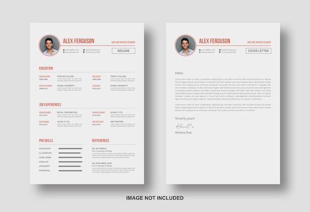 カバーレターのデザインテンプレートで履歴書を再開する Premium Psd