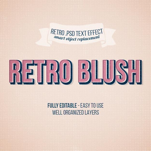 Retro blush text effect Premium Psd