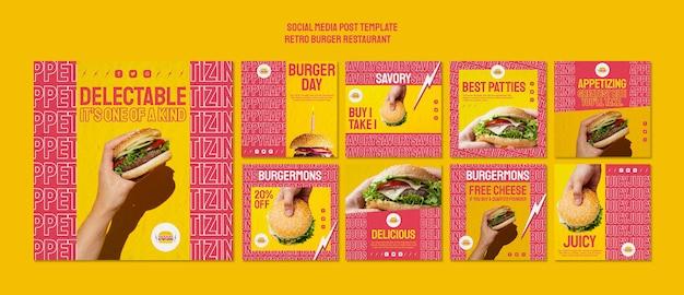 レトロなバーガーレストランのソーシャルメディアの投稿 無料 Psd
