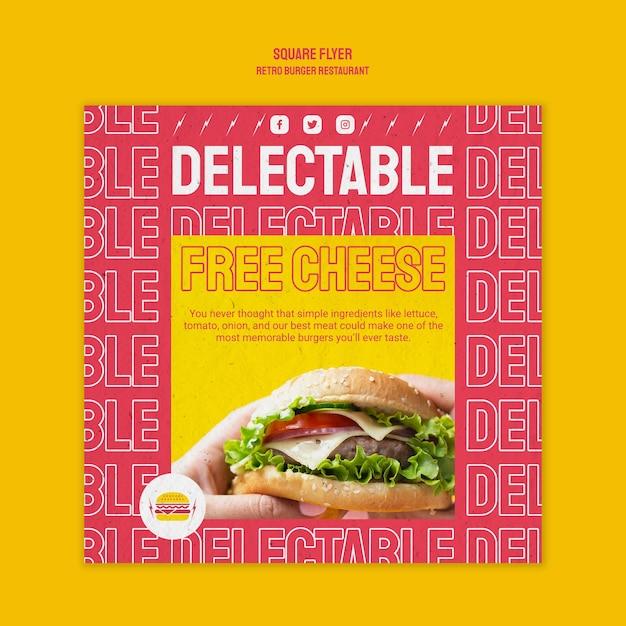 レトロなハンバーガーレストランの正方形のチラシテンプレート 無料 Psd