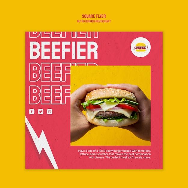 レトロなハンバーガーレストランスクエアチラシ 無料 Psd