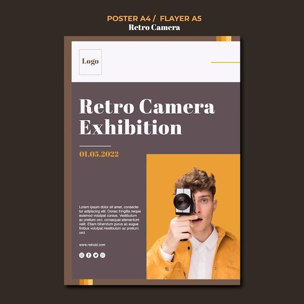 레트로 카메라 컨셉 포스터 디자인 무료 PSD 파일