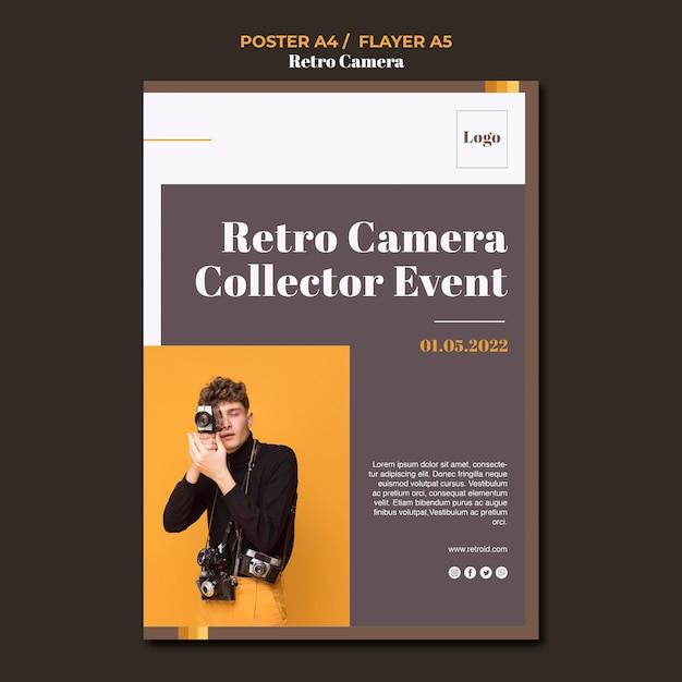 레트로 카메라 컨셉 포스터 템플릿 무료 PSD 파일