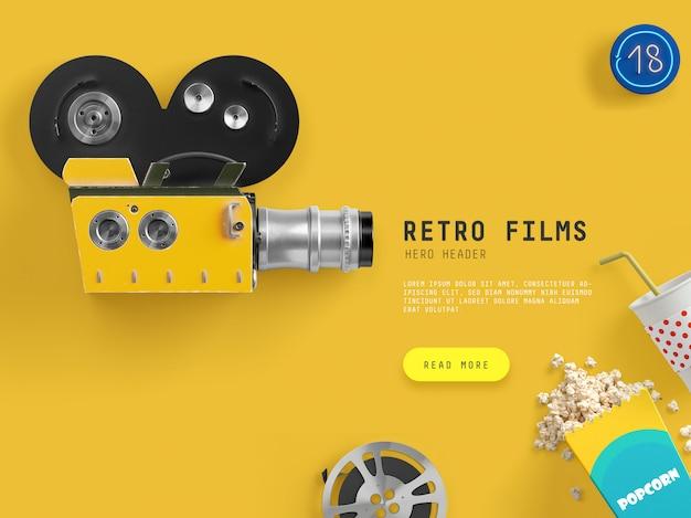 Retro films hero/header scene PSD file | Premium Download