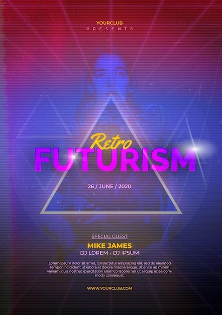 Retro futurism poster template Free Psd