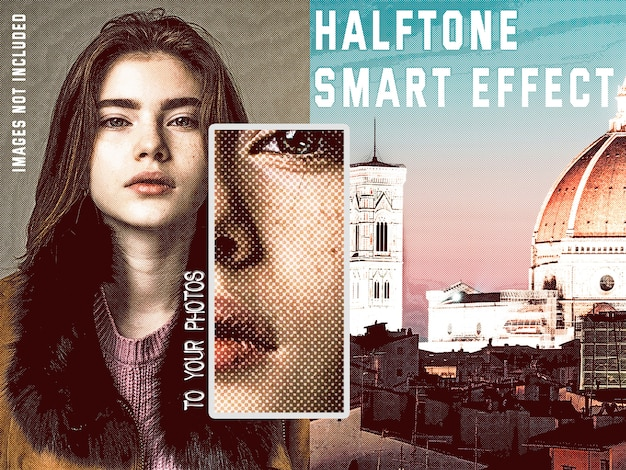 Retro halftone smart effect collection Free Psd