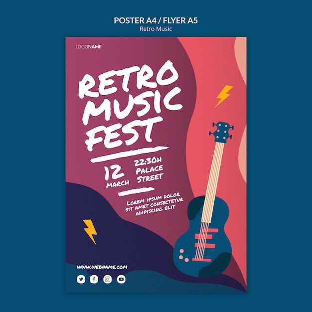 Стиль ретро музыки постер Бесплатные Psd