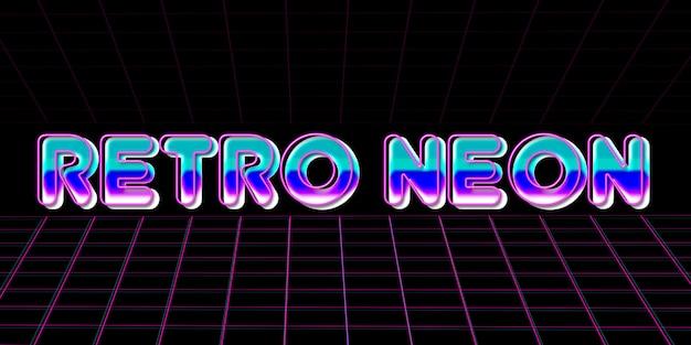 Retro neon text effect 80s style Premium Psd