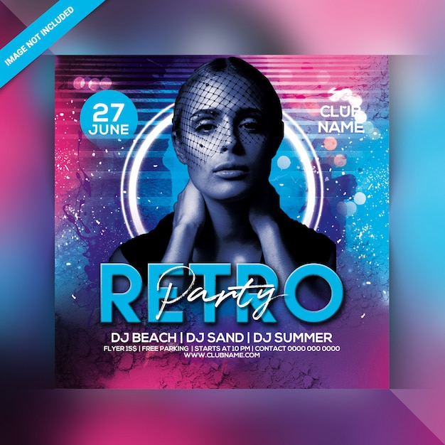 Retro party flyer Premium Psd