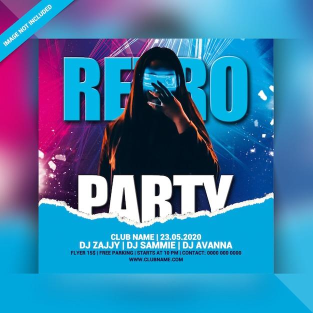 Retro party flyer Premium Psd
