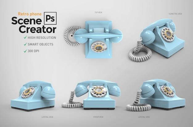 Ретро телефон. создатель сцены. 3d Premium Psd