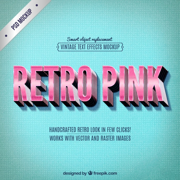 Retro pink lettering Free Psd