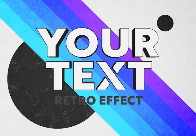 Retro pop 3d text effect mockup Premium Psd
