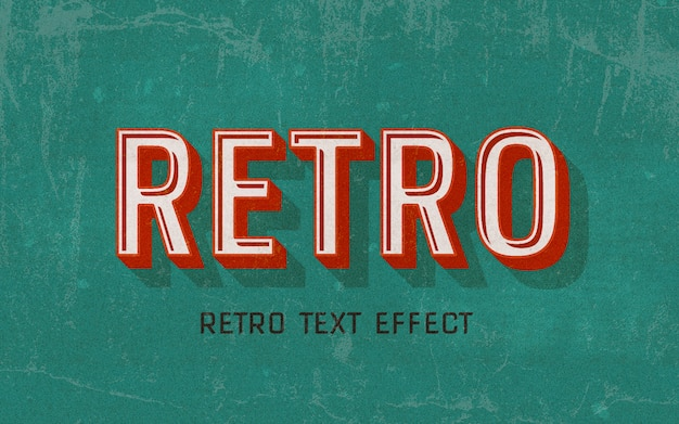 Retro red text style effect Premium Psd