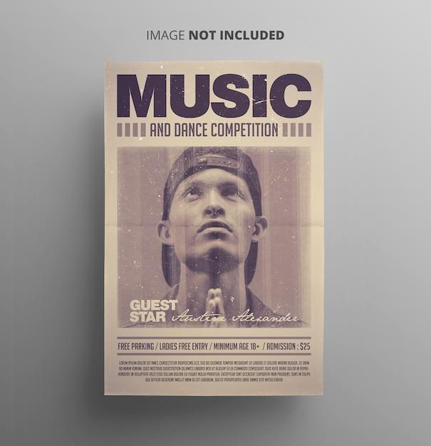 Retro style music flyer Premium Psd