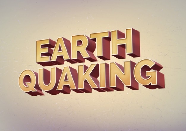 Retro text effect earth quaking PSD Free Psd