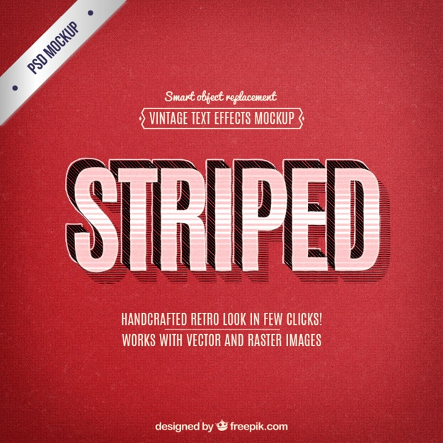 Retro text effects Free Psd