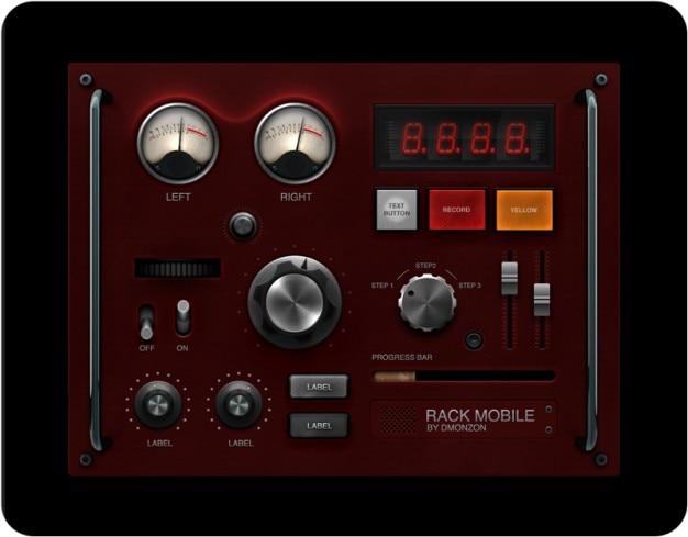 Retro UI elements dashboard PSD Free Psd