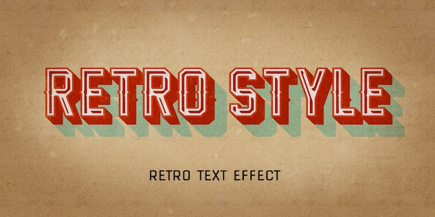 Retro vintage style effect with 3d shadow Premium Psd